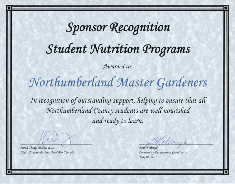 Northumberland Food For Thought awards Northumberland Master Gardeners for carrying the torch on nutrition
